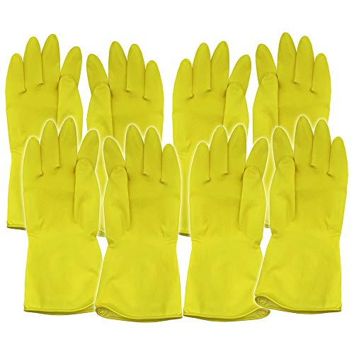 4 Pairs of Medium Household Cleaning Gloves | Latex Rubber Kitchen & Bathroom Gloves | Yellow Washing Up Gloves
