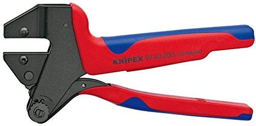 KNIPEX 97 43 200 A Crimp-Systemzange für auswechselbare Crimpeinsätze brüniert mit Mehrkomponenten-Hüllen 200 mm