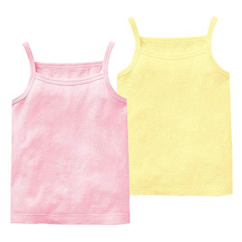 JiAmy Baby Jungen Mädchen Unterhemd, 2er Pack Unterwäsche Baumwolle Hemd ohne Arm Mesh Schlafanzug Rosa+Gelb 12-18 Monate