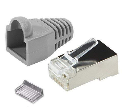 odedo® 12er Pack Crimpstecker CAT6 Metall geschirmt mit Einfädelhilfe und Knickschutz in grau, Netzwerk Lankabel RJ45 Kat 6, Crimp Stecker Gigabit, Modular Plug