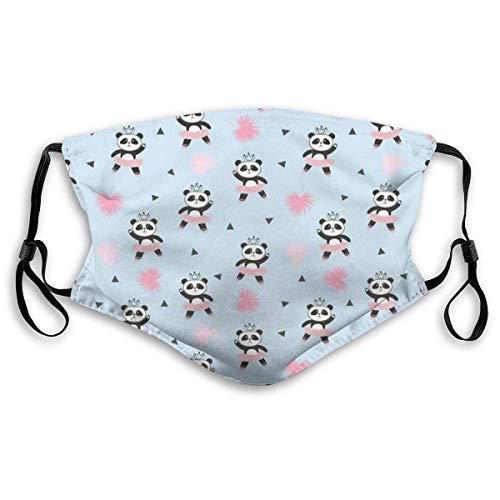 Mond Ma-sk, betoverende panda-ballerina in de jurk en een kroon op het hoofd, geprinte gezichtdecoraties met filter voor volwassenen en kinderen.