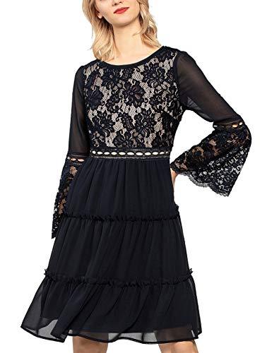 APART Fashion Damska sukienka szyfonowa, sukienka z koronką, na imprezę