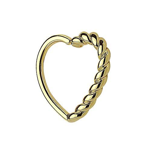 Piercingfaktor Continuous Piercing Ring mit Herz geflochten gedreht für Septum Tragus Helix Ohr Cartilage Knorpel Ohrpiercing Gold