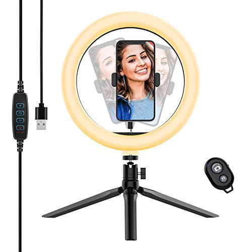 Yoozon Selfie Ringleuchte Stativ mit Fernbedienung,Tischringlicht mit 3 Farbe und 10 Helligkeitsstufen, Live Licht für schöne Fotos oder Videosschooting, live Streaming, Portrait, schminken usw.