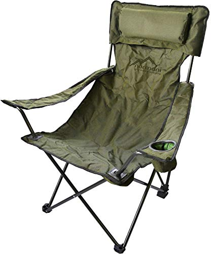 normani Campingstuhl Faltstuhl Klappstuhl Anglerstuhl Getränkehalter Stuhl Gartenstuhl für den Sommer Farbe Deluxe/Olive
