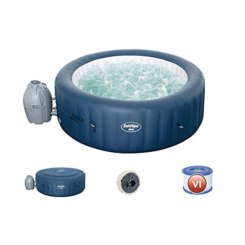 Bestway 54185E SaluSpa Milan Airjet Plus Portable Round Inflatable 6 Person Hot Tub Spa with Cover and Filter Pump Included, Teal