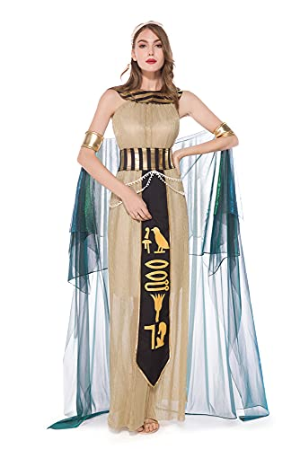Feynman Disfraz de Kleopatra para mujer, disfraz de reina egipcia, con sombrero, diosa egipcia, para Halloween, carnaval, talla L