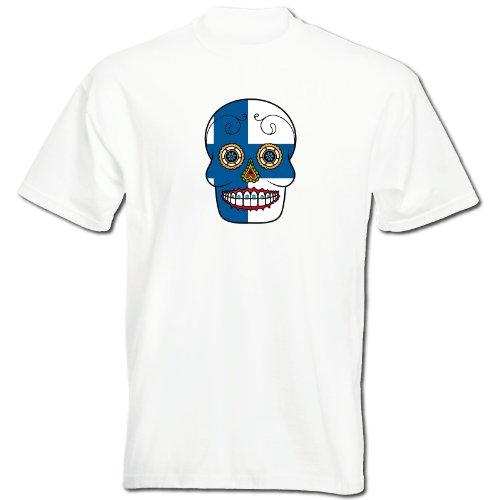 T-Shirt - Finnland - Sugar Skull - Fahne - Herren - Unisex - weiß XXL