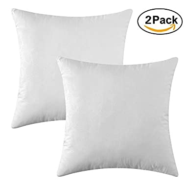 MIULEE Pack of 2, Decorative Pillow Insert Polyester Cotton Indoor White Adjustable Throw Pillows for Sofa Bed 18 x18  45x45 cm