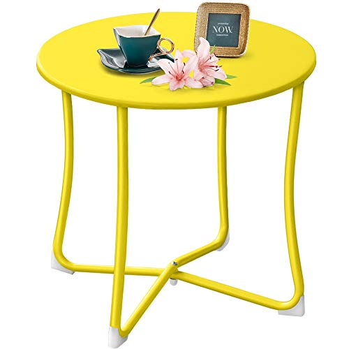 "Amagabeli Metal Patio Side Table 18"" x 18"" Heavy Duty Weather Resistant Anti-Rust Outdoor End Table Small Steel Round Coffee Table Porch Table Snack Table for Balcony Garden Yard Lawn, Yellow"