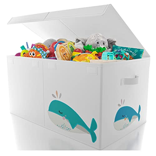 Beautiful Large Toy Box with Lid - Cute Gender Neutral Toy Storage Chest Fits All of Your Kids/Babys Toys - Sturdy Bin for Boys and Girls to Effortlessly Organize All Toys and Stuffed Animals
