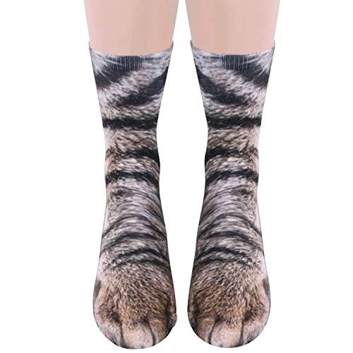 semen Unisex Socken 3D Druck Knöchelsocken Multi-Design Lustig Funny Tiere Pfote Muster Kinder Erwachsenen Paw Print Strümpfe (Ein Paar)