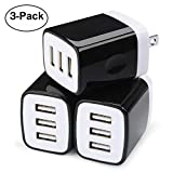 Wall Charger Adapter,USB Cubes,Sicodo 3Pack Universal Travel 3.1A 3 Muti Port Plug Charging Block Compatible with iPhone X,8,7,Plus,Tablet,Samsung GalaxyS10,S9,S8 Plus,S7 S6 Edge,HTC,LG,Sony,Nokia