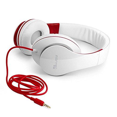 FANTEC SHP-250AJ Stereo HiFi Kopfhörer (mit Bügel, on Ear, 3,5 mm Klinkestecker, bassstark, große und weiche Ohrpolster) weiss/rot