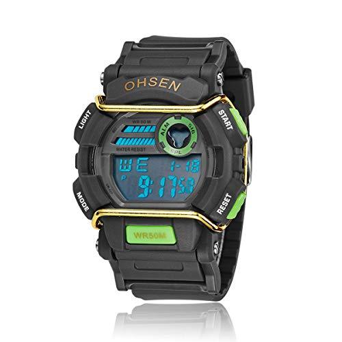 Ohsen Men's Multi-function Waterproof Backlight Display Quartz Sports Watch with Stopwatch/Date/Alarm (1602 Green+Black)