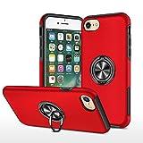 EYZUTAK Funda para iPhone 7, 8, SE 2020, lisa, doble capa, dura, militar, con soporte de anillo 360 grados, silicona, antigolpes, protección cámara, magnético coche, color rojo