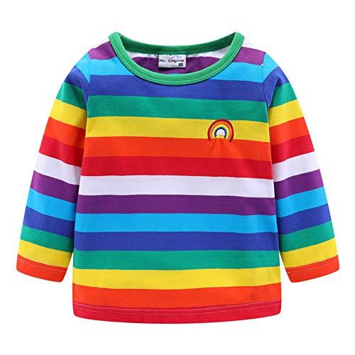 LittleSpring Baby Boys Girls Rainbow T-Shirt Colorful Stripe Long Sleeve 18-24 Months