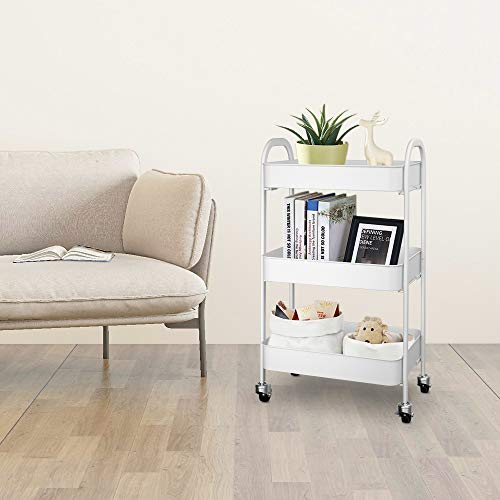 FampR 3Tier Rolling Cart for Storage Multifunctional Utility Cart with Mesh Baskets and 360°Lockable Wheels Metal Craft Trolley Organizer for Bedroom Bathroom Kitchen Office White