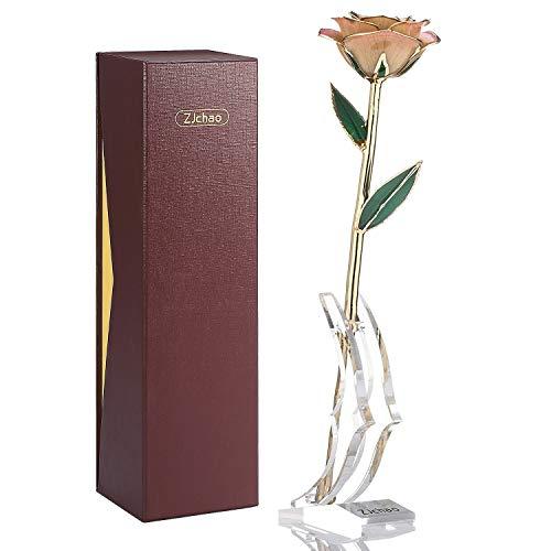 ZJchao - Rosa chapada en oro de 24K con soporte, regalo para el día de la madre o San Valentín