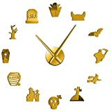 MMLUCK Halloween Ghost DIY Oversized Wall Clock Silent Graveyard Skull Bat Witch Outline Cosplay Party Home Decor Frameless Time Clock(Gold) 47inch