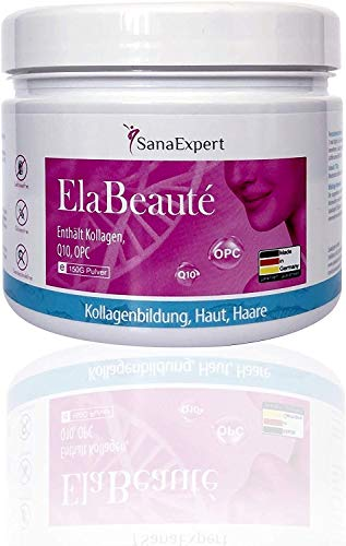 SanaExpert ElaBeauté | COLLAGENE PER LA BELLEZZA DELLA PELLE | con Q10, OPC, biotina, zinco e vitamine (150 grammi). Ingredienti 100% naturali. Prodotto in Germania.