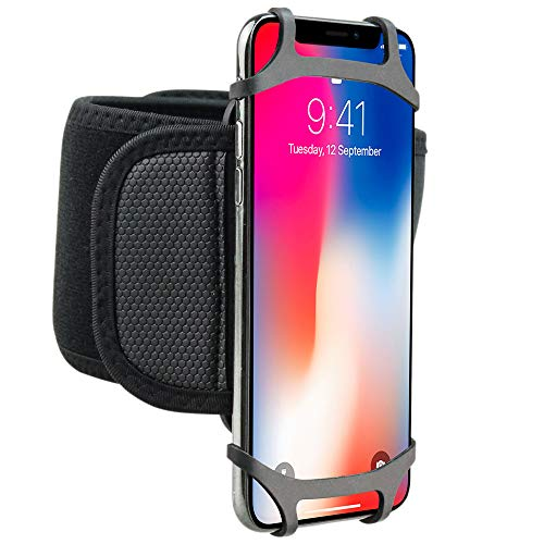 360 Rotatable Outdoor Armband Sports Mobile Phone Holder Running Wristband Hand Silicone for iPhone 11 Pro Max/Xs/Xr/8 Plus, Samsung Note 10+/10 and More 3.5-6.8 inch Cell Phone with Extender Strap