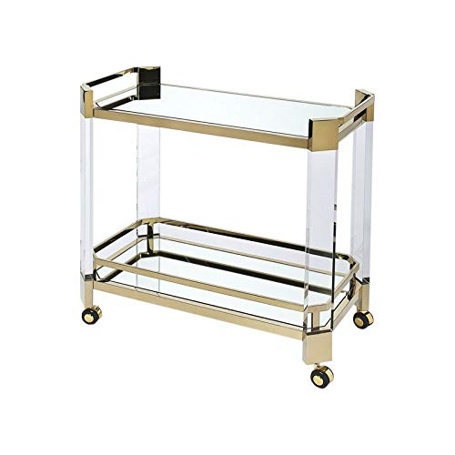 ALBBMY Bar carts Modern 2-Tier Metal Rolling Bar, Serving, Utility Mobile Cart with Handles and Spill Guard Suitable Wheeled Home Bar Cart (Color : Mirror Champagne Gold)