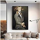 XZRDP Mode Tiere Ziege Poster und Drucke Malerei Wandkunst