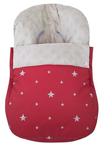 Saco funda polar de invierno universal grupo 0 maxicosi en polipiel bordada y tejido minky de estrellas extra-suave. Modelo dikson rojo y gris