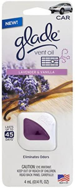 2x Glade Vent Oil Car Ac And Home Air Freshener Eliminate Odors Lavender Vanilla