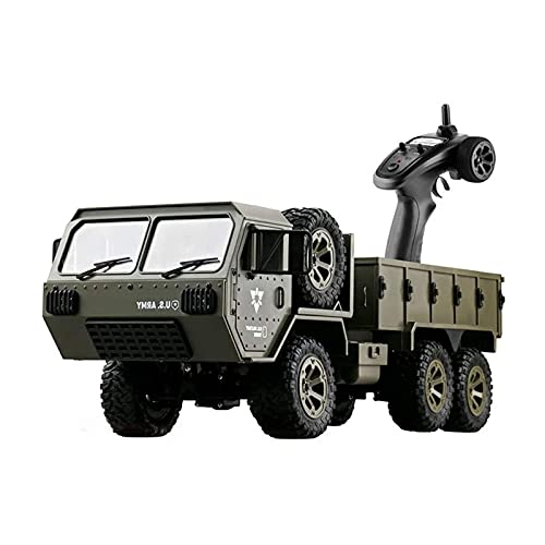 Kikioo 1/16 Scale Military Truck, 6WD 2.4GHz Electric Toy Car, RC Cars, Remote Control Army Armored Car, Rechargeable All-Terrain Off-Road Truck 12 Year Old Kids Games Boys Girls Toys Gift
