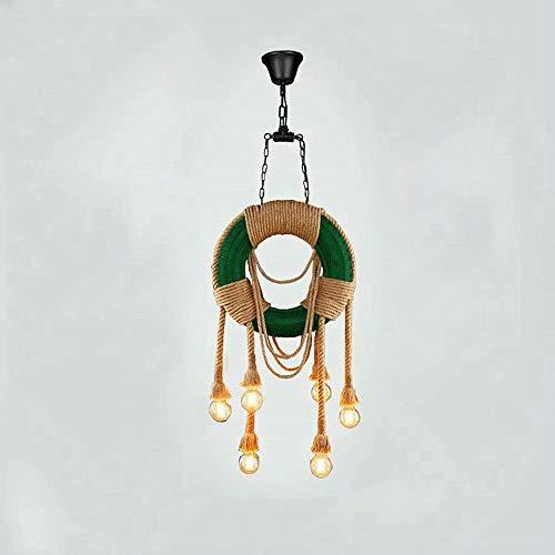 Vintage 6 luces Candelabro de cuerda de cáñamo Estilo rural Neumático de goma Colgante Lámpara colgante,E27 Diámetro incluido 45 cm Luces de suspensión de techo para restaurante Cocina Granja