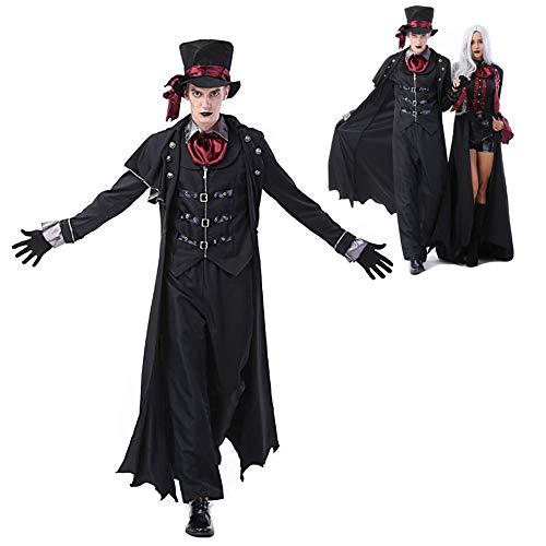HUILI Parejas Disfraces de Halloween del Vampiro Adulto Fantasía Mal Partido del Zombi Cosplay Vestido de Traje de Vestir Trajes de Ropa de la Mascarada,B,XL