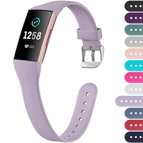Ouwegaga Kompatibel mit Fitbit Charge 4 Armband/Fitbit Charge 3 Armband, Weiches Band Ersatz Sport Armband für Damen Herren, Klein Lavendel