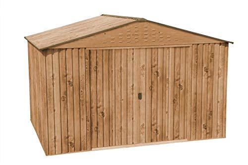 Abri de jardin en métal Colossus 10 x 8 avec portes coulissantes en tôle dacier galvanisée à chaud revêtue par pulvérisation - Ne rouille pas - Épaisseur de paroi : 0,33 mm - Couleur : chêne