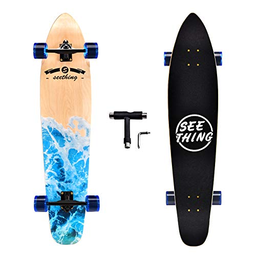 seething 42 Inch Longboard Skateboard Complete Cruiser,The Original Artisan Maple Skateboard Cruiser for Cruising, Carving, Free-Style and Downhill(Sea Wave)