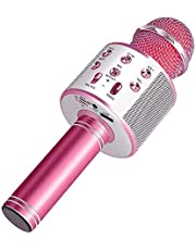 Wireless Bluetooth Karaoke Microphone Machine,Portable Handheld Karaoke Bluetooth Handheld Karaoke Speaker Player Machine for Kids Adults Home KTV Party for Android/Iphone/Ipad/Pc Girl Boy Pink