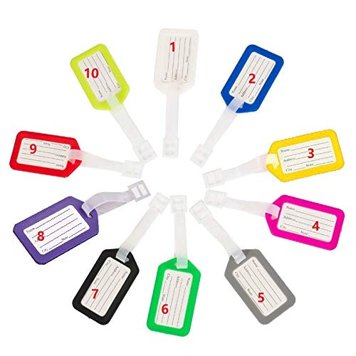 10 Pack - Waterproof Luggage Tags Travel Labels Airline ID Card for Suitcase Bags - Pet Cage Kennel Carrier IDTag (Single Color)