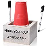 Solo Cup Holder with Marker Slot Wood Party Cup Holder Mark Your Cup and Drink Up Drink Caddy Dispenser Farmhouse Bar BBQ Housewarming Party Rustic Wedding Decor,Utensil Holder Storage Hostess Gifts