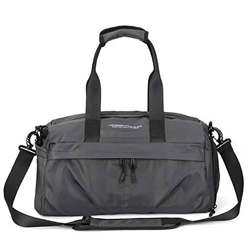 Tollmllom Gym Sports Duffle Bag Waterproof Large Capacity Luggage Bag for Male Casual Duffle Bag Fitness Shoulder Bags with Shoe Pouch Portable and Durable (Color : Gray, Size : 42x23x23cm)