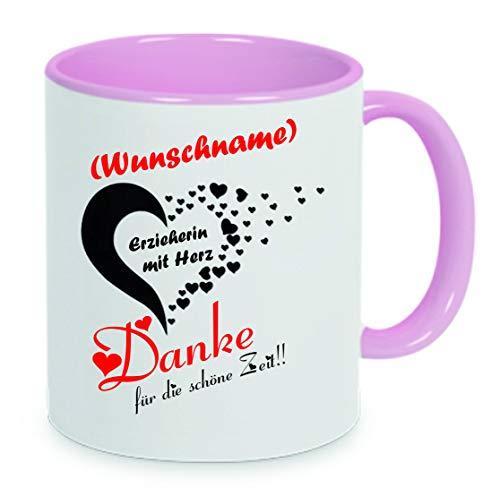 Crealuxe Erzieherin mit Herz - Danke für die schöne Zeit - Wunschname - Kaffeetasse, Bedruckte Tasse mit Sprüchen oder Bildern, Bürotasse,