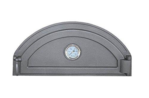 Tradehub Backofentür Ofentür Pizzaofentür Holzbackofentür Steinbackofentür aus Gusseisen mit Thermometer | Außenmaße: 600x285 mm | Öffnungsrichtung: rechts