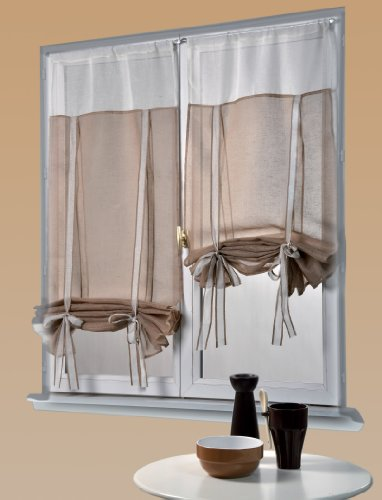 Homemaison HM69812445 - Coppia di Tende arricciabili in Lino, Due tonalità, Colore: Marrone Chiaro/Bianco
