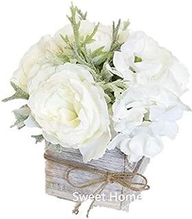 Sweet Home Deco 8'' Silk Rose Peony Hydrangea Mixed Flower Arrangement w/ Wood Vase Wedding Home Decorations (White)