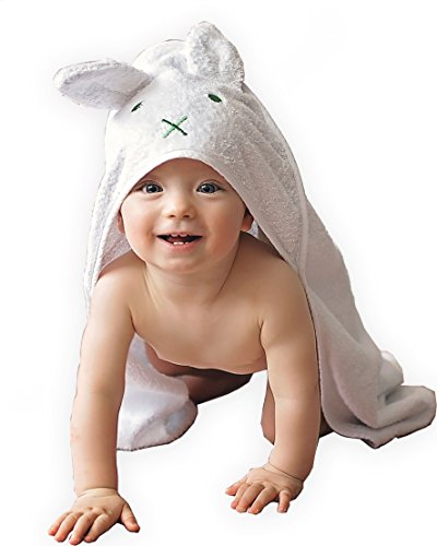 BabyCrate Kapuzenbadetuch Hase mit Ohren 100% Bio-Baumwolle weich und dick - Premium-Qualität - ideal als Geschenk für Neugeborene, Säuglinge und Kleinkinder