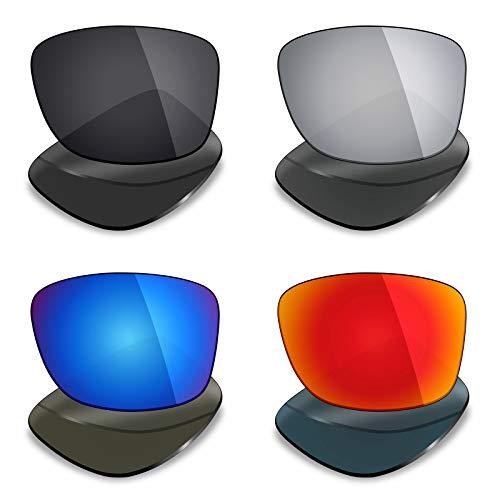 Mryok 4 pares de lentes polarizadas de repuesto para gafas de sol Oakley Jupiter Squared – Stealth Black/Fire Red/Ice Blue/Silver Titanium