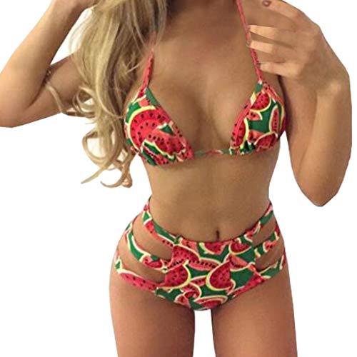 Dream Room Damen Bikini Bandage Push Up Rot Gepolsterte Bademode Bikini Set mit Wassermelone Gedruckt Swimsuit Bikini High Waist Sommer Badebekleidung (XL, Rot)