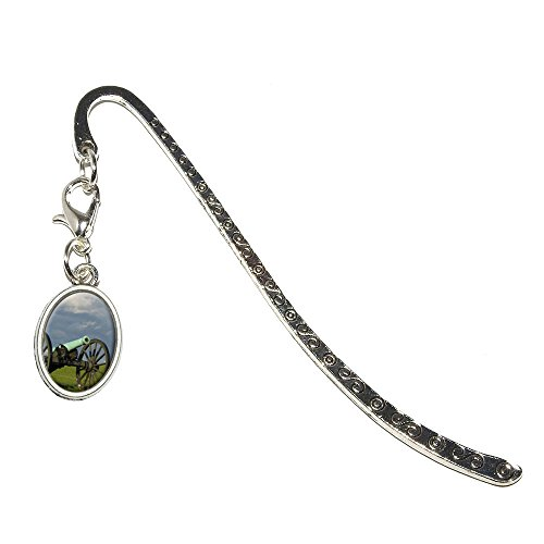 Civil War Canon Metal Bookmark Page Marker with Oval Charm