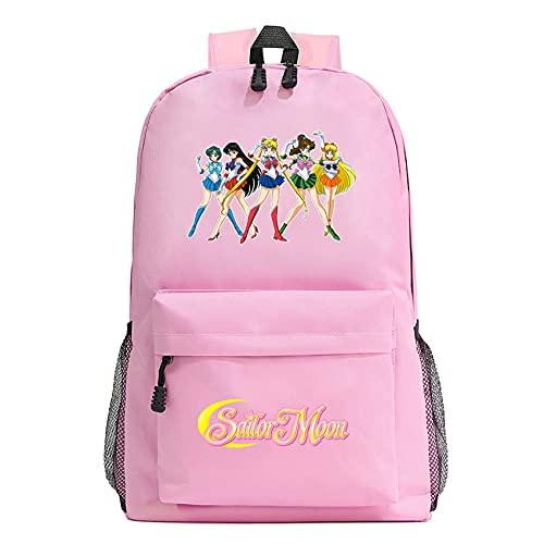 XMTIHE Child Sailor Moon School Backpack Casual Bookbag,Wear-Resistant Rucksack Anime Travel Backpack for Girls