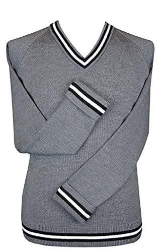 Albert Prendergast Jersey de cuello en V gris para hombre con ribete negro blanco y negro